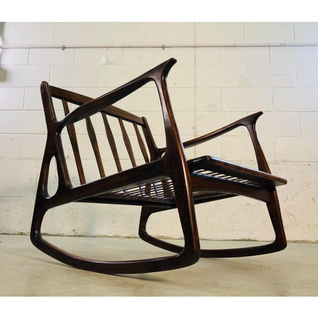 Vintage Italian Beech Wood Rocking Chair For Sale - Image 12 of 13
