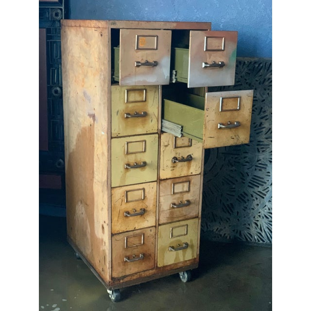 Industrial Vintage Industrial Rolling 10-Drawer Metal File Cabinet For Sale - Image 3 of 6