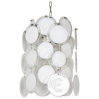 Italian 1970s Vistosi White and Clear Glass Disc Chandelier For Sale