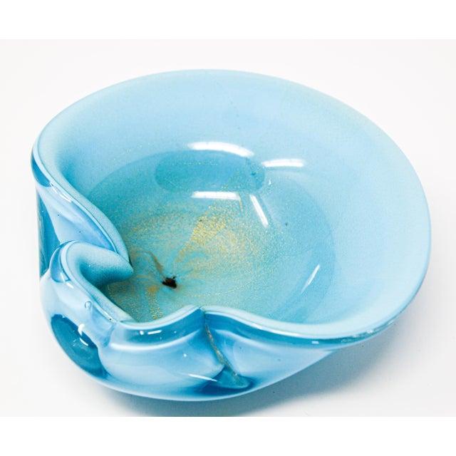 Glass Alfredo Barbini Murano Venetian Handblown Art Glass Turquoise Ashtray For Sale - Image 7 of 12