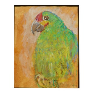 Colorful Contemporary Framed Pastel Parrot For Sale