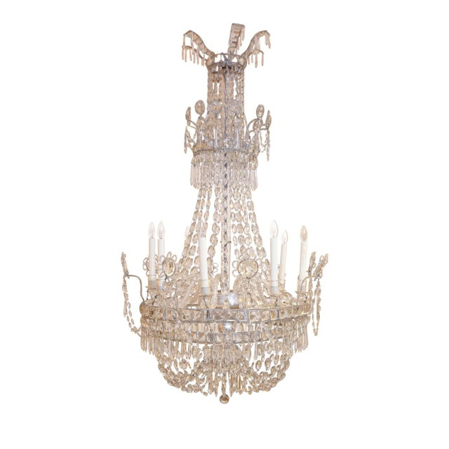 Neoclassical Large Eight-Light Crystal Chandelier For Sale - Image 3 of 8
