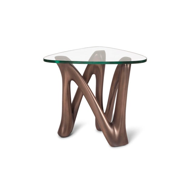 Amorph Ronia Dark Bronze Side Table With Glass Top For Sale - Image 9 of 9
