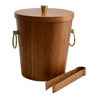 Danish Modern Teak Ice Bucket and Tongs