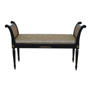 Regency Style Cane Seat & Sides Black Window Bench