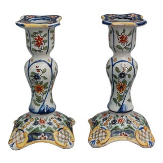 Antique French Faience Hand Painted Candlesticks - a Pair