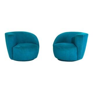 "Vladimir Kagan for Directional ""Nautilus"" Swivel Chairs, 1980 For Sale"
