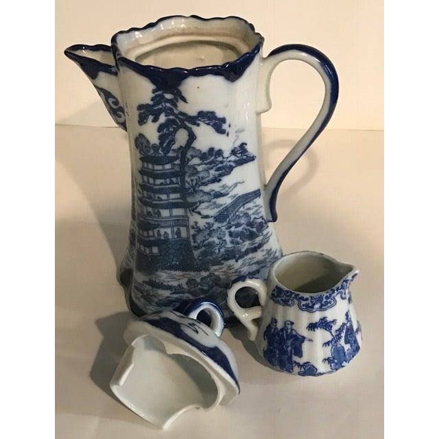 Chinoiserie Blue & White Teapot & Creamer - Image 5 of 8