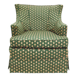 Vintage Swivel Green Arm Slipper Chair For Sale
