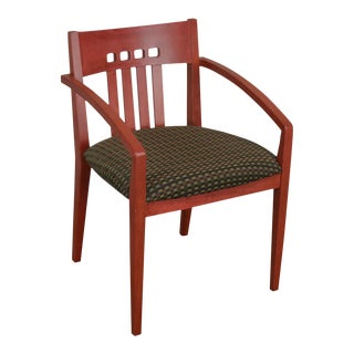 Knoll Upholstered Modern Design Red Armchair For Sale