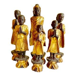 Vintage Wood Carved Set of Six Monks For Sale