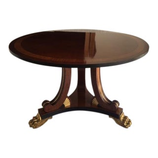 1980s English Regency Mahogany Gilt Claw-Footed Round Center or Dining Table For Sale