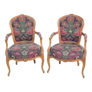 Louis XV Style Carved Walnut Floral Upholstered Armchairs - a Pair For Sale