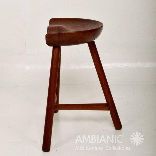 Mid-Century Danish Modern Solid Teak Stool For Sale - Image 4 of 10
