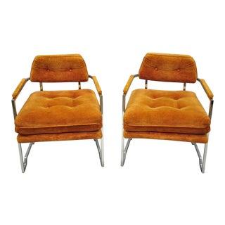 Mid Century Modern Milo Baughman Carson's Chrome Orange Lounge Chairs - a Pair For Sale