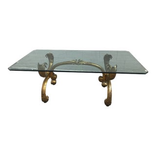 1970s Art Deco Glass Top Dining Table For Sale