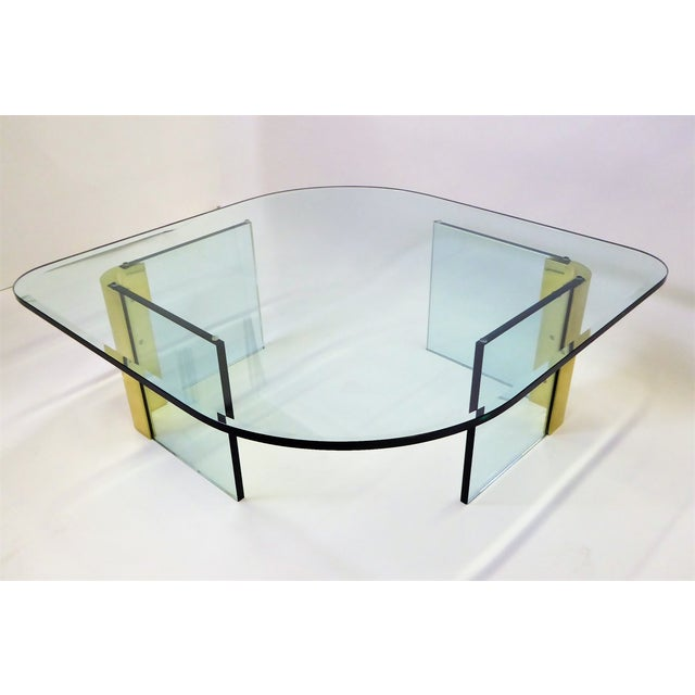 Modern Large 1970s Thick Glass & Brass Coffee Table For Sale - Image 12 of 13