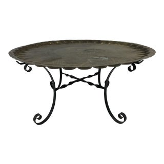 Vintage Brass Charger Coffee Table With Wrought Iron Base For Sale