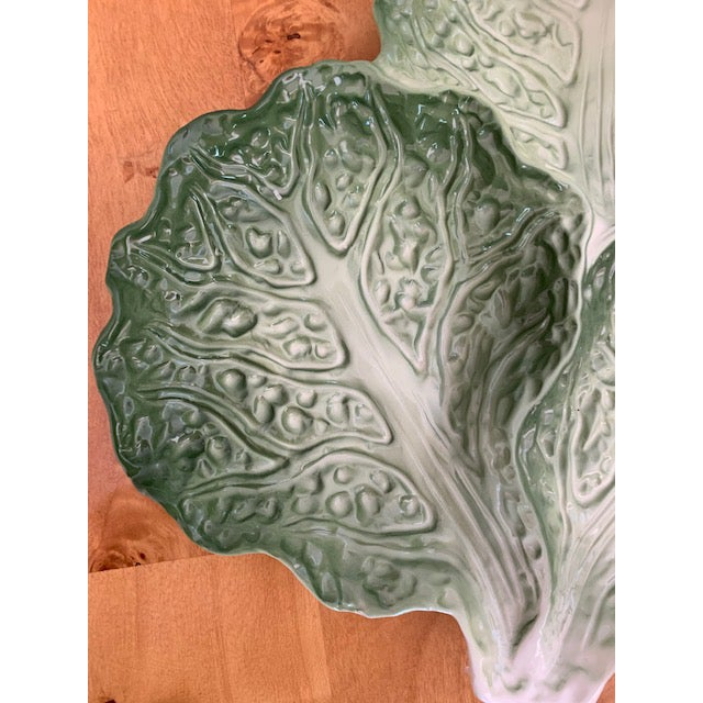 English Traditional French Vintage Lettuce Leaf Plate For Sale - Image 3 of 5