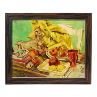 """Oil on Masonite Painting by Ralph Gagnon, Titled """"Apples in a Still Life"""" For Sale"""
