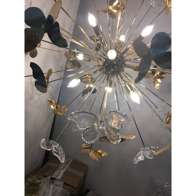 Gold Italian Hand Made Gold 24k Butterfly Sputnik Chandelier For Sale - Image 8 of 13