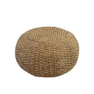 Modern Tan Rattan Pouf For Sale