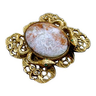 Avant Garde Gilt Metal Serpent Agate Stone Brooch C 1950s For Sale