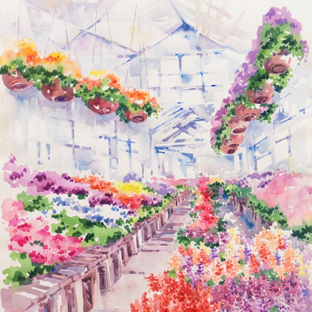Impressionist 'Flowers in the Greenhouse' by Charlotte Britton, California Woman Artist, American Watercolor Association For Sale - Image 3 of 8