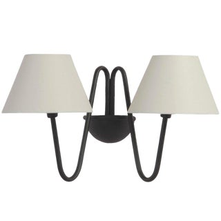 Two-Arm 'Bouquet' Black Wall Lamp in the Style of Jean Royère For Sale