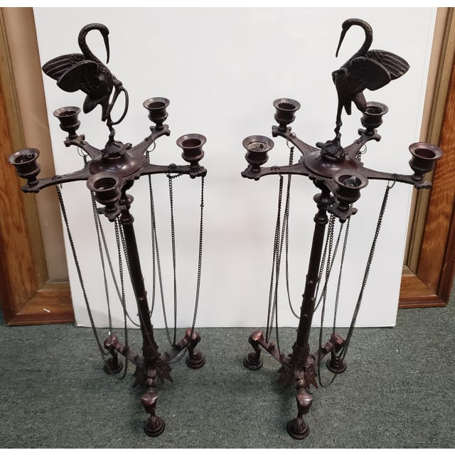 Bronze Mid 20th Century French Neo-Grecian Style Bronze Alloy Candelabras - a Pair For Sale - Image 8 of 9