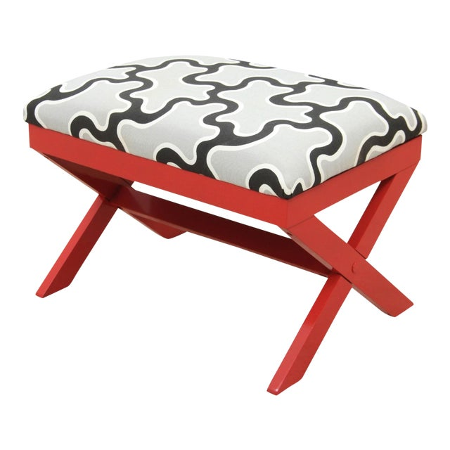 Cumulus Red Curule Bench For Sale