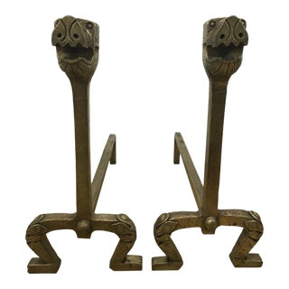 Gilt Bronze Dog Motif Andirons - a Pair