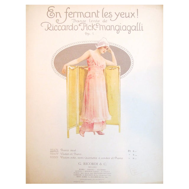 1910 Italian Music Sheet en Fermant Les Yeux - Image 1 of 4