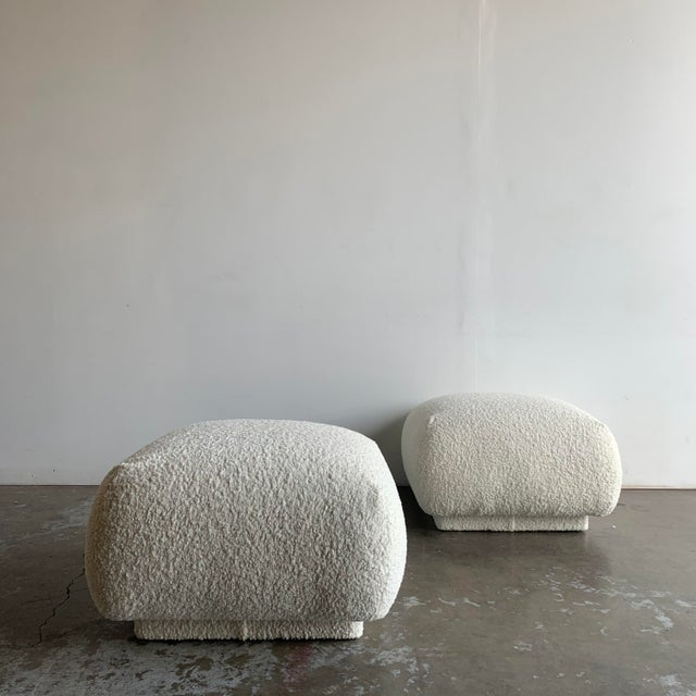 W25.5 D25.5 H17 Vintage 1980s large plinth ottomans sold separately. These features new foam and fresh Sherpa fabric. In...