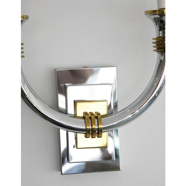 Metal Art Deco Revival Polished Brass and Chrome Wall Sconces - a Pair For Sale - Image 7 of 11