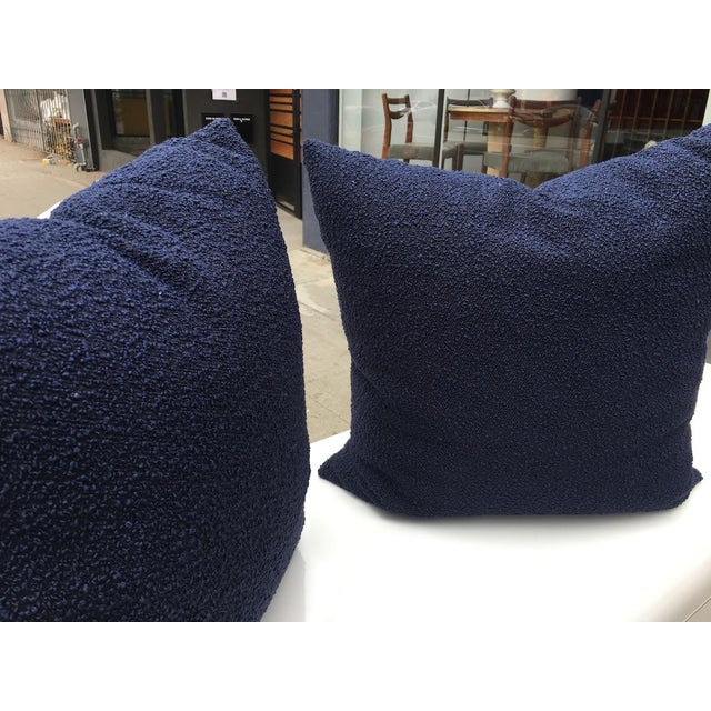 Custom Navy Curly Boucle Pillows - A Pair For Sale In Los Angeles - Image 6 of 8