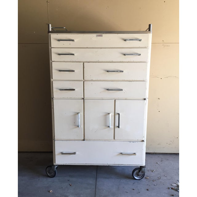 Outstanding industrial medical/dental cabinet. Purchased in France. Normal wear and tear. May require repainting. All...
