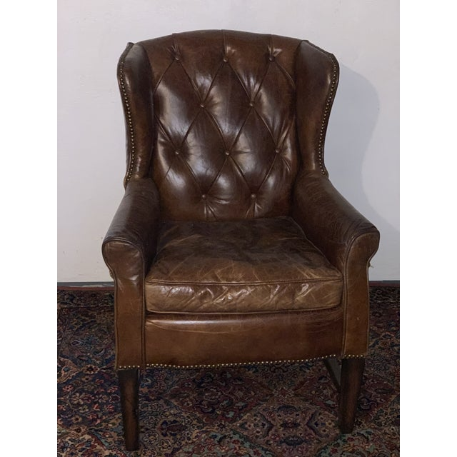 2010s Modern Tufted Leather Wing Chair For Sale - Image 5 of 5