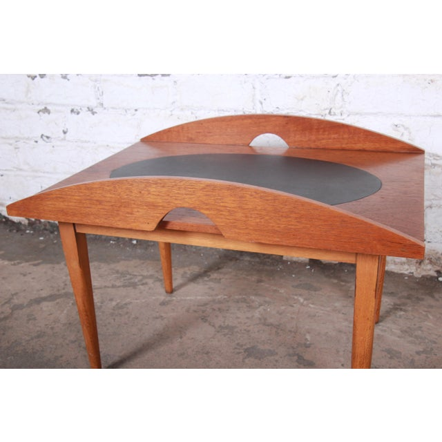 Wood Paul McCobb for Lane Signature Collection Walnut and Leather Occasional Side Table For Sale - Image 7 of 11