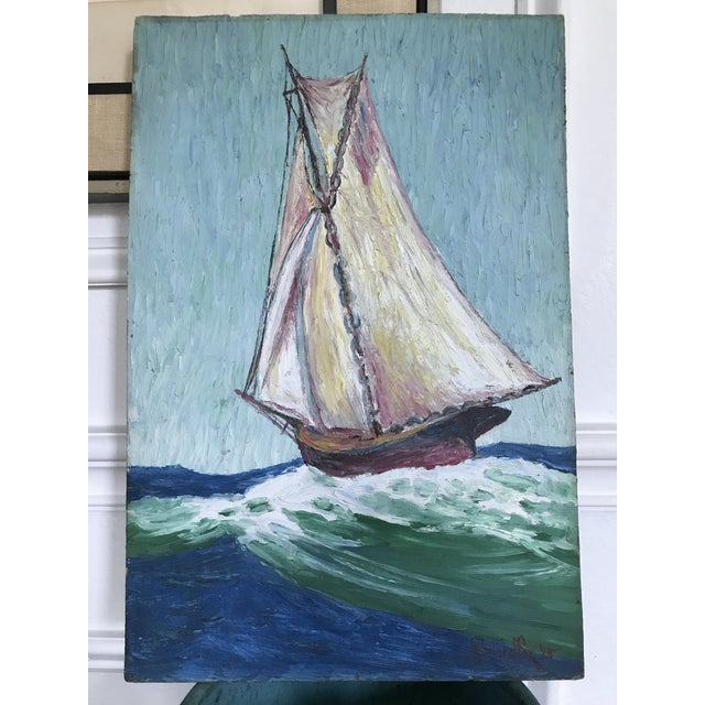 Comprised of oil paint on wood, this textural painting was painted in 1925 which makes it almost 100 years old. Features...