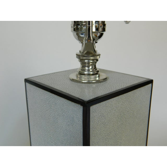 2010s Grey Shagreen Table Lamps - a Pair For Sale - Image 5 of 8