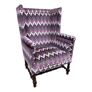 Stylish Newly Reupholsterd Wing Back Chair For Sale