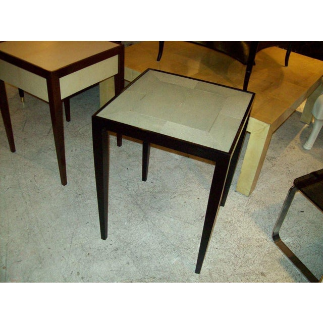 Custom pair of handcrafted shagreen end tables.