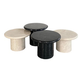 Vintage Black and White Resin Nesting Tables - 4 Pieces For Sale