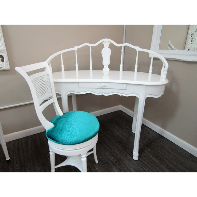 White Hollywood Regency Kidney Shaped Vanity/Writing Desk With Upholstered Swivel Chair For Sale - Image 8 of 9