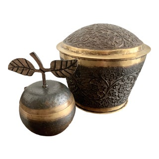 1960s Solid Brass Art Lidded Apple & Art Nouveau Container - a Pair For Sale