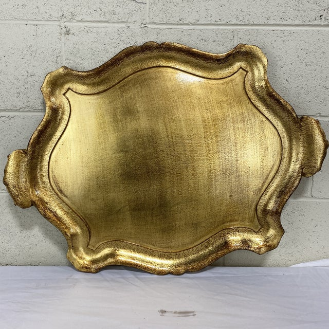 Large Gold Leaf Florentine Style Tray For Sale - Image 11 of 11