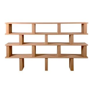 'Verticale' Four Shelves Polished Oak Shelving Unit For Sale