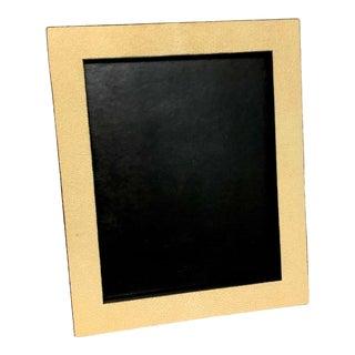 French Modern Shagreen & Calfskin Leather Frame, Blanc For Sale