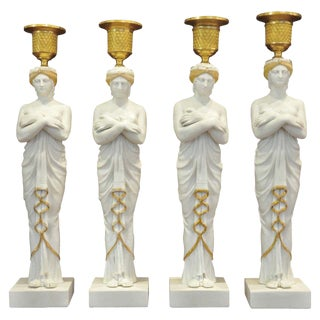 Set of Four Early 19th Century Biscuit Caryatid Figures as Candlesticks For Sale